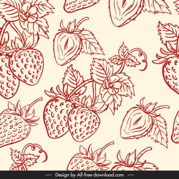 strawberry pattern flat classical handdrawn sketch