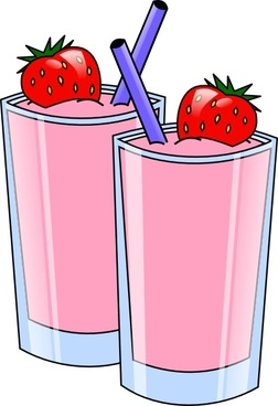 Strawberry Smoothie Drink Beverage Cups clip art