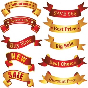 sales ribbons templates colored modern shiny 3d shapes