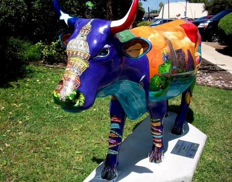 street art sculpture cow