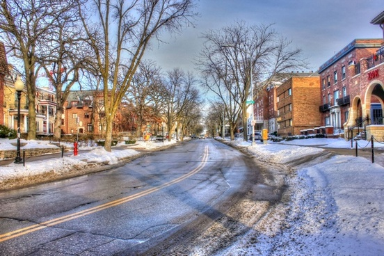 street in the snow in madison wisconsin
