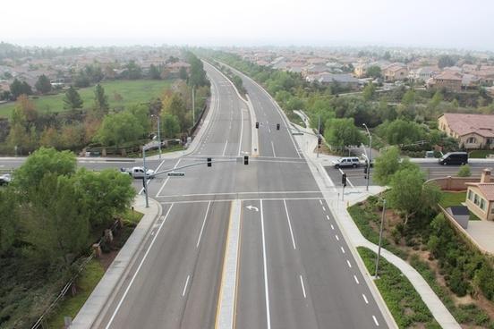 street intersection in suburban neighborhood