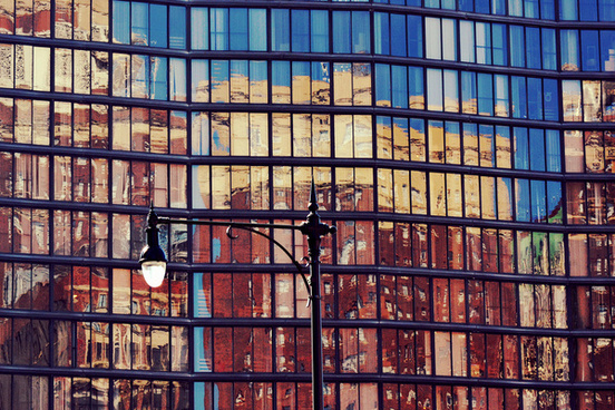 street lamp and reflections chicago