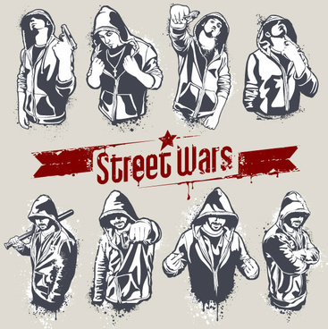 street wars vector silhouettes