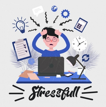 stress concept background working human arrow lightbulb icons