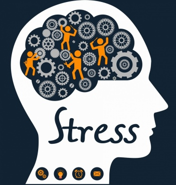 stress concept banner brain mechanism gears head silhouette
