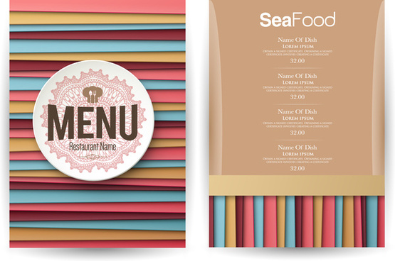 striped lines background restaurant menu