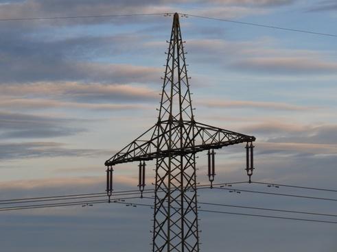 strommast power line sky