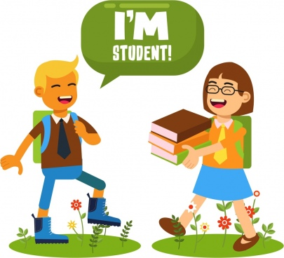 student background boy girl books icons cartoon design