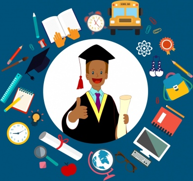 student background man education design elements circle layout