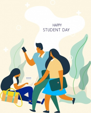 student day background young people icon cartoon character