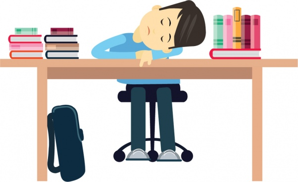 student sleeping vector