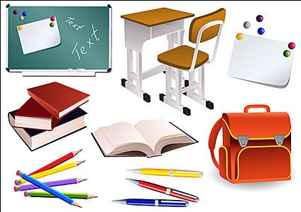 Students school supplies vector material