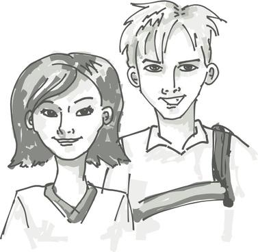 Students Standing Cartoon clip art
