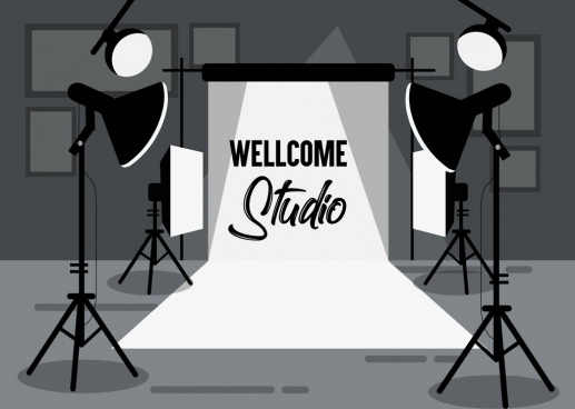 studio background device icons black white decor