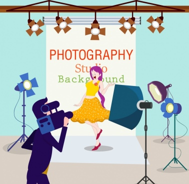 studio background model cameraman devices icons cartoon design