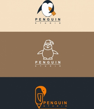 studio logo design penguin icon flat sketch