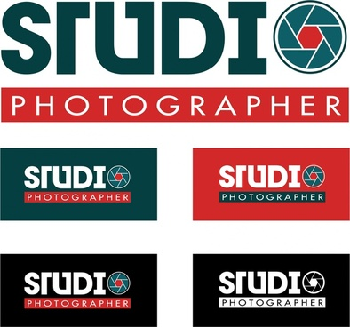 studio logo design words isolation on colored background