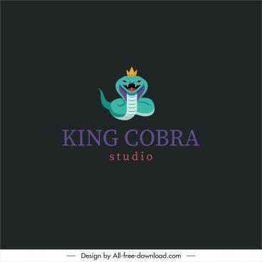 studio logotype king cobra sketch colorful flat