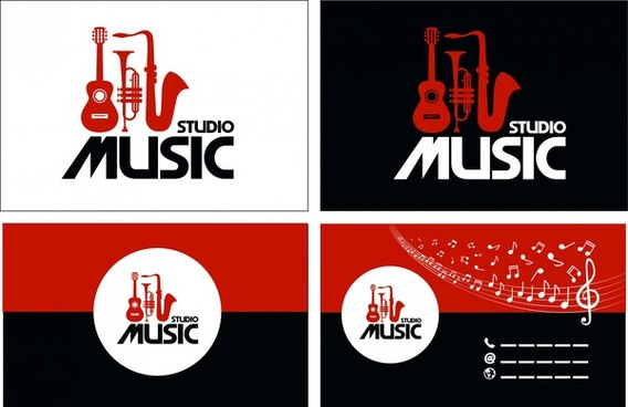 studio music design elements red instrument icons style