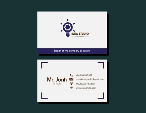 studio name card lightbulb design on white background