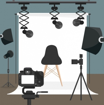 studio room background camera devices icons 3d design