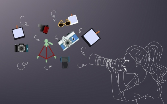 studio work background camerawoman design elements handdrawn icon