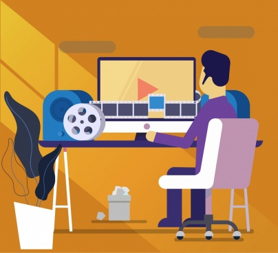 studio work background working man filmstrip computer icons