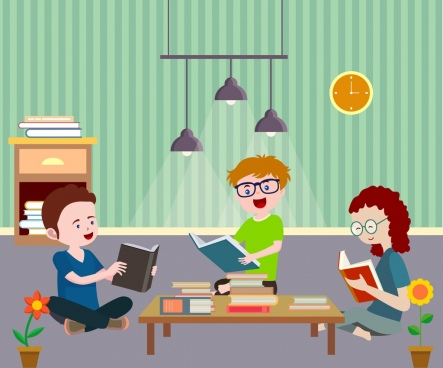 study drawing youth reading book colored cartoon