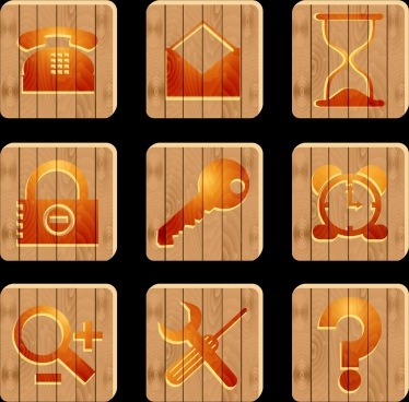 stuffs symbols isolation brown flat design wooden background
