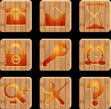 stuffs symbols isolation brown flat design wooden background