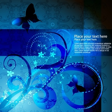 elegant background template dark blue classic flora butterfly