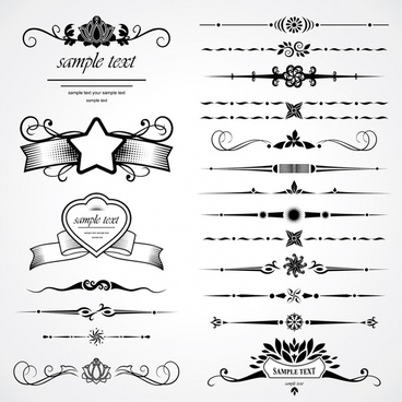 card decorative elements black white elegant symmetric shapes
