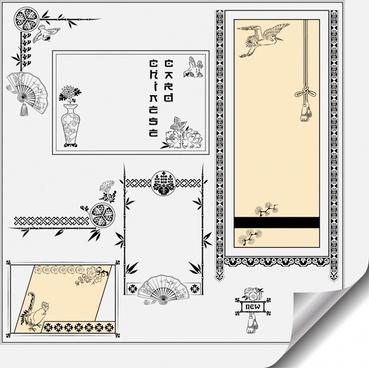 card decorative elements retro oriental sketch