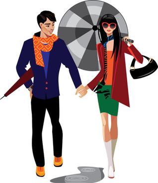 stylish cartoon characters vector