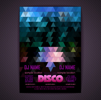 stylish disco party poster cover vector