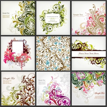 floral background templates colored classical curves decor