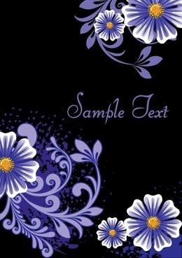 floral background dark violet decor classic flat design