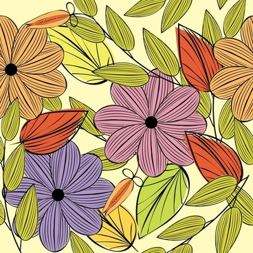 floral painting colorful flat handdrawn design
