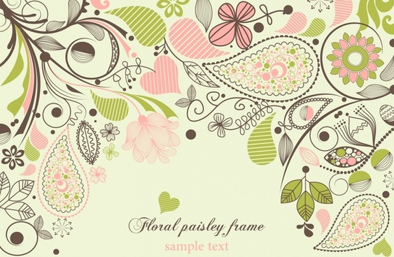 floral background classical flat handdrawn decor