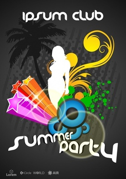 summer party banner dark dynamic grunge 3d decor
