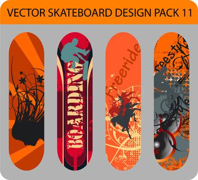 stylish floral skateboard vector set