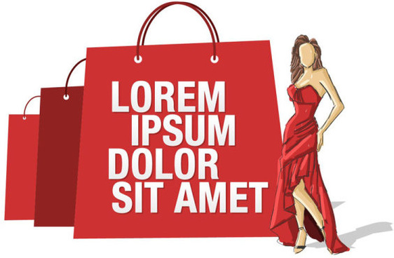 stylish girl with shopping bags elements vector