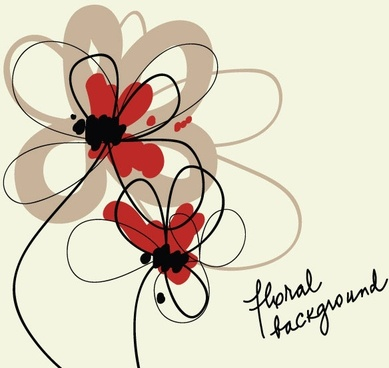 stylish handpainted flowers vector 4