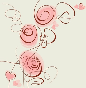 stylish handpainted flowers vector 5