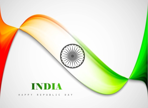 stylish indian flag republic day beautiful tricolor wave design art vector