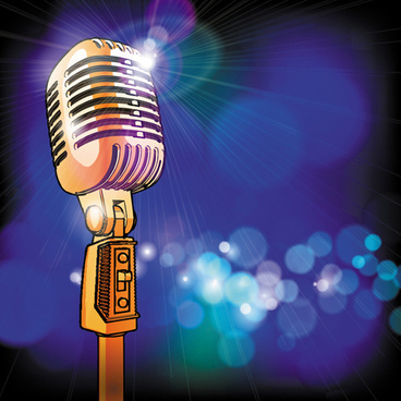 stylish microphone elements vector set