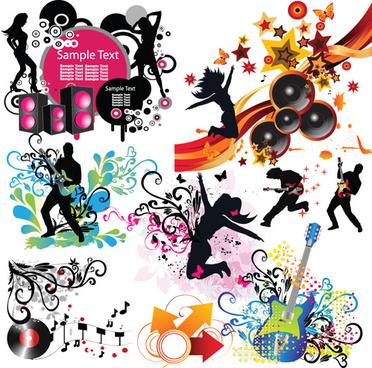 stylish music illustration vector graphic