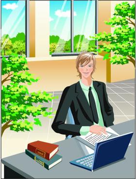 stylish office people set vector