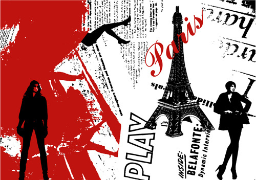 stylish paris elements vector set